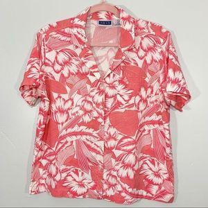 Vintage   Floral Leaf White Pink Collared Shirt